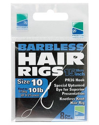PRESTON BARBLESS HAIR RIGS SHORT SIZE 16 (10)